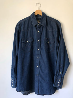 Wrangler Dark Wash Chambray Pearl Snap - XL