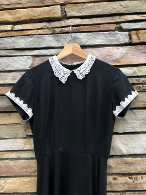 Black Cotton Dress w/ Lace - S