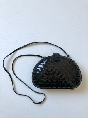 Woven Patent Shoulder Bag/Clutch