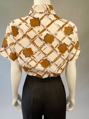 Brown 60's Abstract Print Blouse