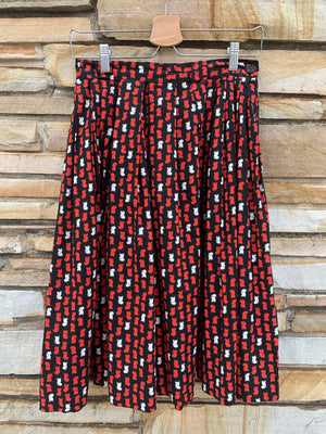 Mid-Century Rooster Print Day Skirt - M