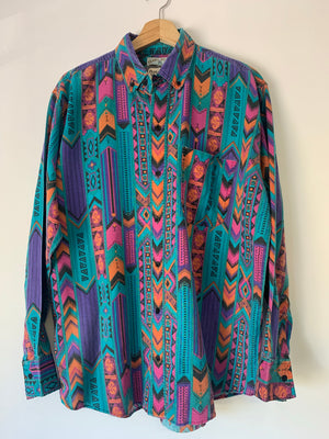 90's Purple & Teal Tribal Print Shirt - L