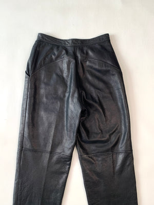 Black Leather 1980's Pants