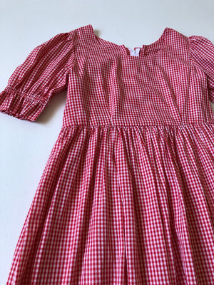 Red Gingham Puff Sleeve Dress