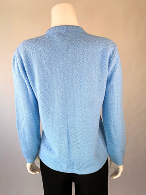 1970's Baby Blue Cable-Knit Cardigan