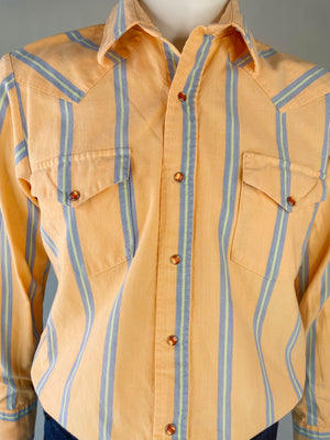 Peach Blue Striped Western Pearl Snap