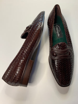 Brown Woven Leather Loafers - 8.5