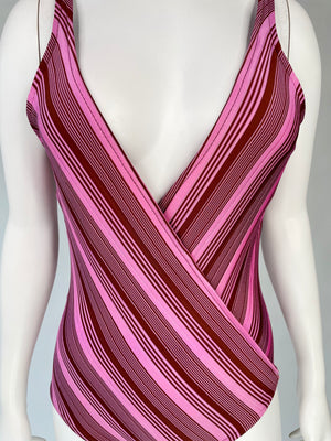 1980's Striped Deep V Swimsuit
