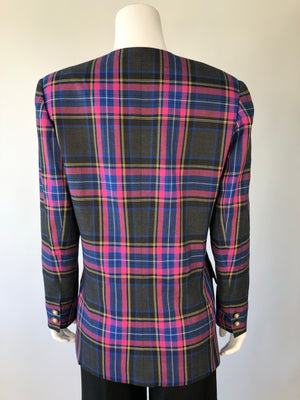 80's Plaid Double Breasted Blazer