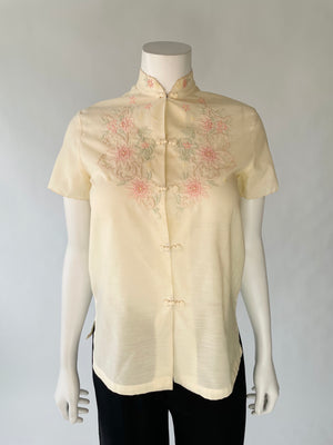 Embroidered 70's Cotton Blend Top