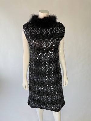 1960's Black Sequin Party Dress w/ Maribou Collar