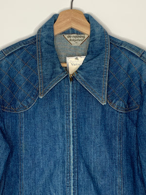 1970's Zip Up Denim Jacket - M