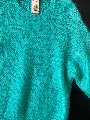 Aqua Mohair Open Knit Sweater - M/L
