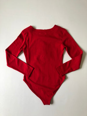 90's Red Long Sleeve Bodysuit - S/M/L
