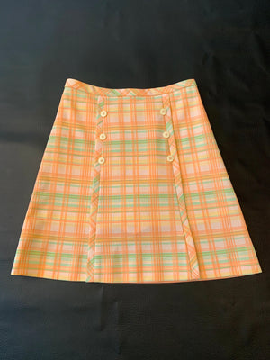 Peachy Green Plaid 70's Skirt w/ Hidden Shorts
