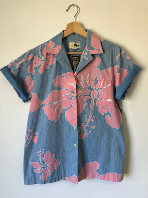 80's Blue & Pink Tropic Shirt - M