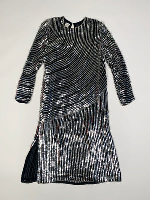 Black & Silver Sequin Striped Silk Dress - L