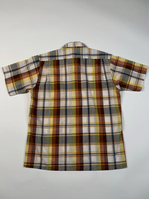 70's Brown & Yellow Plaid Shirt - M