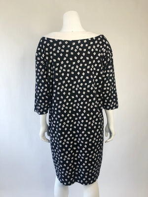 1980s Black & White Tapered Tunic Dress w/ Pockets
