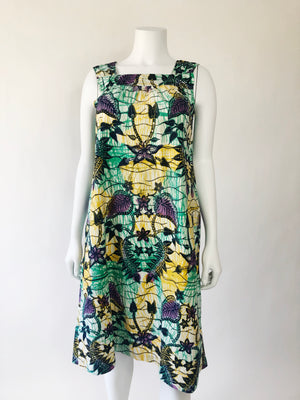 1990's Cotton Batik Midi Dress w/ Pockets