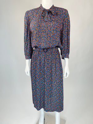 1980's Tie-Neck Floral Maxi Dress