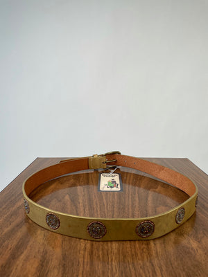 Gold Leather Belt w/ Beaded Medallions
