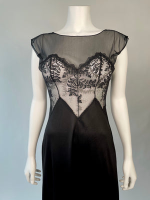 70's Black Slip w/ Sheer Trim