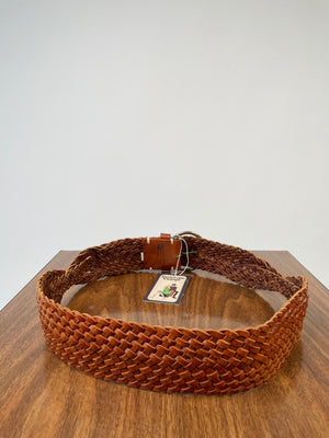 Wide Gap Braided Leather Belt w/ Brass Buckle