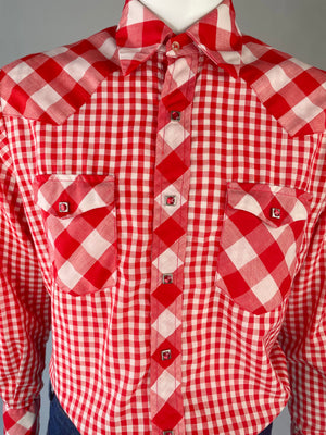 Red Gingham Shirt w/ Square Pearl Snaps