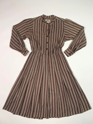 70's Spots & Stripes Dress - L