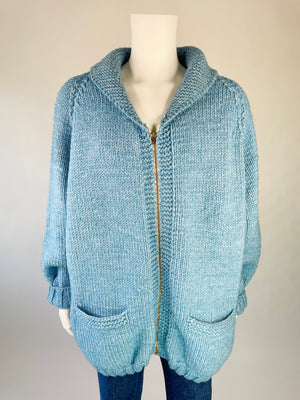 1980's Cowl-Neck Knit Zip-Up Airplane Cardigan