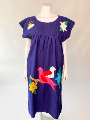1980's Navy Blue Bird Patchwork Dress