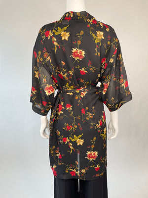 Black Sheer Floral Robe