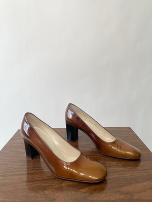 90's Brown Patent Leather Heels