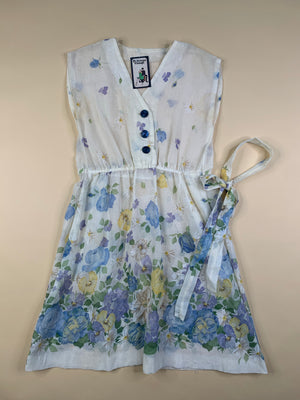 Sheer Floral Dress w/ Blue Buttons - M