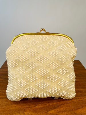 Mid-Century Ivory Diamond-Pattern Beaded Kiss-Lock Clutch