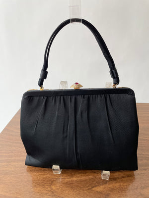 1950's Black Handbag w/ Red Jewels