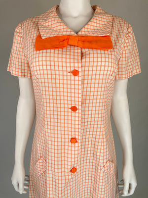 1960's Orange Grid Dress w/ Sailor Collar