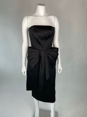 Black Strapless Big Bow Cocktail Dress