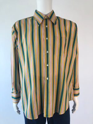 70's Lightweight Cotton Green Stripe Shirt