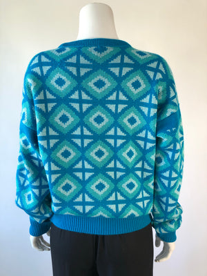 80's Teal Ski Sweater