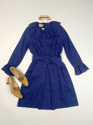 60's Navy Ruffle Mini Dress - S