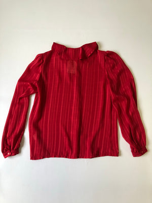 Pretty Petal Collar Red Blouse - M