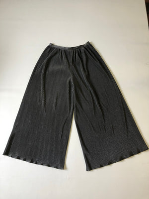 Pleated Wide Leg Silver Pants - M/L