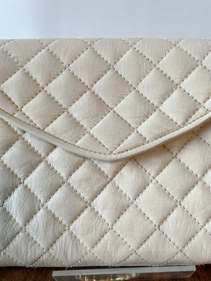Ivory Quilted Leather Purse w/ Gold Chain Strap