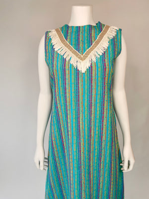 Rainbow Striped Fringe Dress