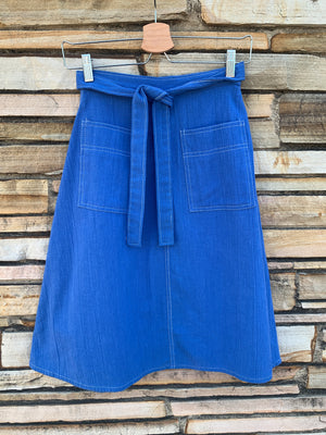 70's Blue Wrap Skirt w/ White Stitching - S
