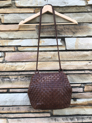 Brown Leather Woven Shoulder Bag
