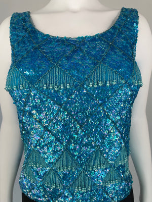 Blue Sequin Beaded Fringe Top