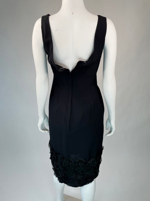 Black Mid-Century Ruffle Hem Dress